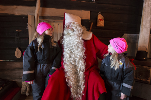Children Meeting Santa Claus in Ranua