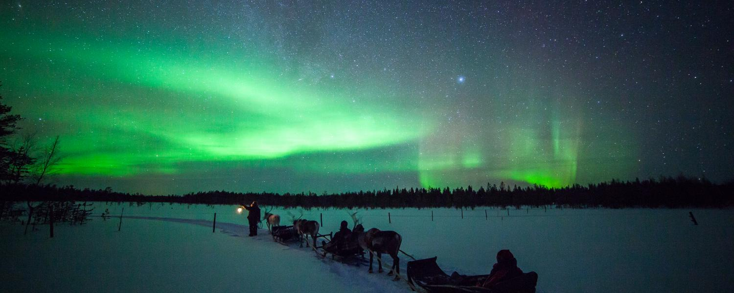 Northern Lights whilst on the Reindeer Safari, Torassieppi, Finland
